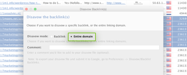 Select whether you'll disavow the backlink page or the wholde domain